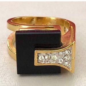 New 18KGP Black Stone & Cubic Zirconia Ring Size 6
